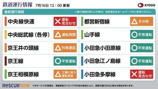 鉄道運行情報10路線 横型